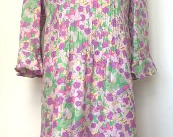 Vintage pastel floral frill neck dress size 12