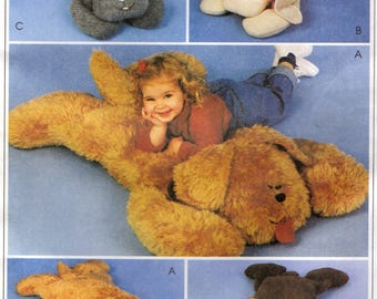McCall's 9616 - FUZZY FRIENDS Animal Pillow Shams - TV Buddy Cat Dog Bear Rabbit