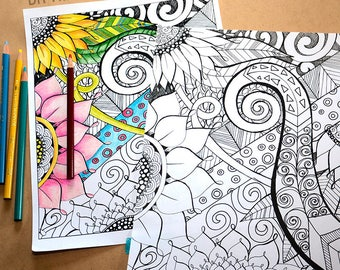 Adult Coloring Book Page, Floral Fantasy, DIY Printable, Hand Drawn Flowers, Instant Download, Adult Colouring Sheet, Art Therapy