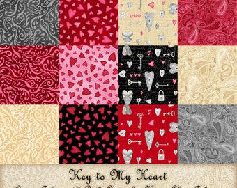 Key to My Heart coordinates - cotton fabric by the yard