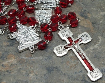 Stations of the Cross Chaplet in Ruby Czech Glass, Catholic Chaplet, July Birthstone Chaplet, Chaplet With Color Crucifix and Pieta Center