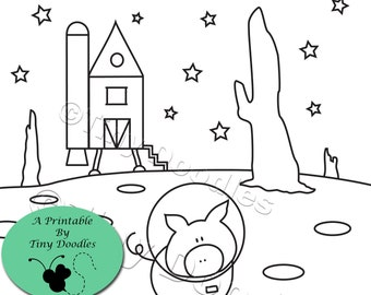 Pigs, Space Coloring Page, Printables Kids, PDF Colouring Pages, Coloring Pages, Kids Printables, PDF Coloring Page, Coloring Sheets, Cute