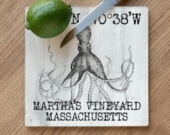 Custom Coordinates Vintage Octopus Cutting Board, Latitude Longitude Cutting Board