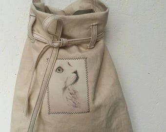 Tote Bag shoulder bag made double thick cotton linen
