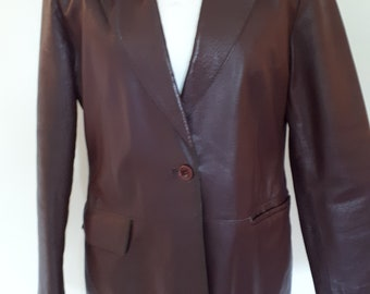 Vintage leather jacket 70s by Paragon fitted deep plum purple Leather Jacket size medium
