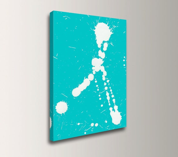"Modern Art - Digital Print - Teal and White Canvas Print - Modern Wall Decor - ""Fling"""