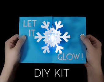 Snowflake Light-Up Card Kit - Greeting Card Kit - Pop-Up Card Kit - Snowflake Card - Let It Glow Card - Awesome Card - Paper Snowflake - DIY