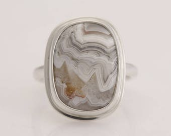 Choose a stone and have a custom ring made in your size, Crazy Lace agate and sterling silver rings, in sizes 4 to 11, #865