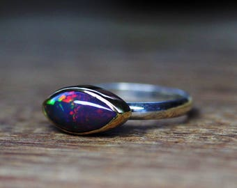 Black Opal Ring, Ethiopian Opal Ring, 18k, Sterling Silver, gold opal ring, welo opal ring, stacking ring, october birthstone