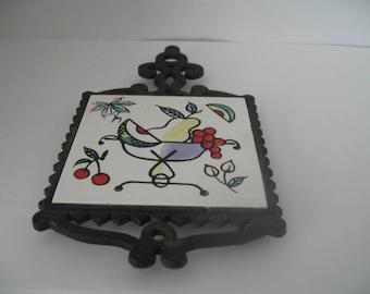 Vintage Iron & Tile Trivet/Hot Plate With Fruit Bowl Picture