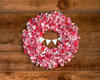 Valentine's Day Wreath, Valentine, Scrap Wreath, Baby Nursery Decor, Rag Wreath, Fabric Wreath, Pink Wreath, Boho Chic, Shabby Chic