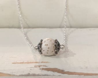 Essential Oil Diffuser White Lava Stone Aromatherapy Silver Necklace