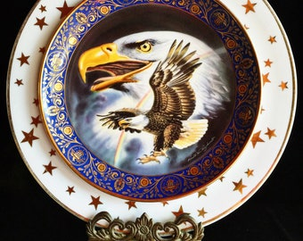 Patriotic • Bald Eagle • America • Freedom • 4th of July • Repurposed Vintage Collector Wall Plate • USA