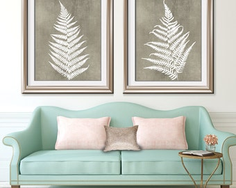 Ferns of Tuscany (Series B2) Set of 2 - Art Prints (Featured in White on Italian Stone) Nature Woodland Inspired