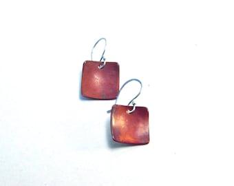 Copper square earrings