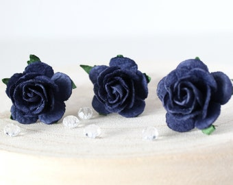 Navy Rose Hair Pins, Wedding Hair Pins, Bridal Hair Accessories, Bridesmaid Hair Pins, Boho Wedding Hair Pins, Blue hair pins