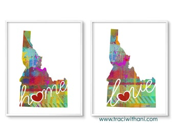 Idaho Love & Home: Instant Digital Download Watercolor Style Wall Art Print