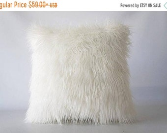 Mothers Day Sale 26x26 Mongolian faux fur pillow, faux fur pillow cover, faux fur, pillow cover, Mongolian fur, fur pillow cover