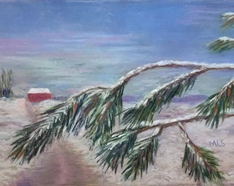 "Signed Print of ""A Light Dusting"" by MaryLee Sunseri, 5"" x 7"" pastel"