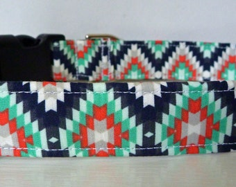 "Modern Tribal Dog Collar - Modern Unisex Aztec - Black Navy Jade White Diamond Dog Collar ""Navajo"" - Free Colored Buckles"
