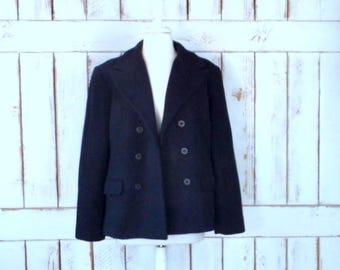 Vintage 90s black wool double breasted pea coat jacket/black wool coat/nautical sailor pea coat/Kristen Blake/large