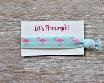 Pink Flamingo Bird Blue Hair Tie-Let's Flamingle!-to have and to hold-Aloha