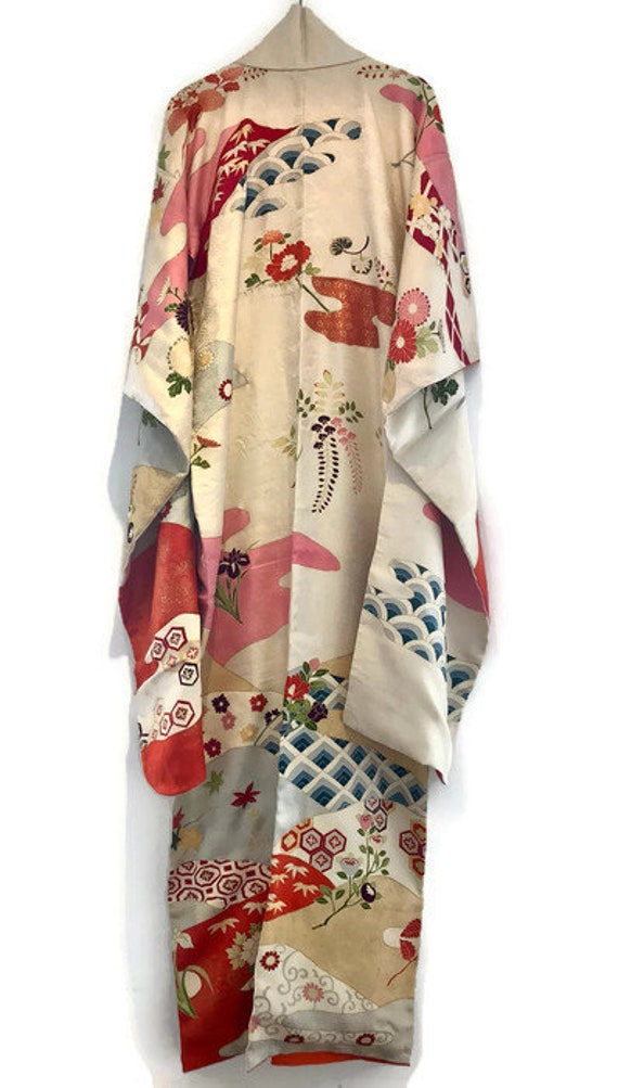 Kimono Unisex Robe 1920s Gown Handmade Silk Antique Japanese Jacket Mens 1950s 50s Womens Furisode Vintage Kimono 20s Kimono Wedding 7qtwqTY
