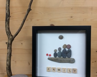 PebbleArt Family picture, family of four, gift for him, gift for her, unique family gift, gift for friends