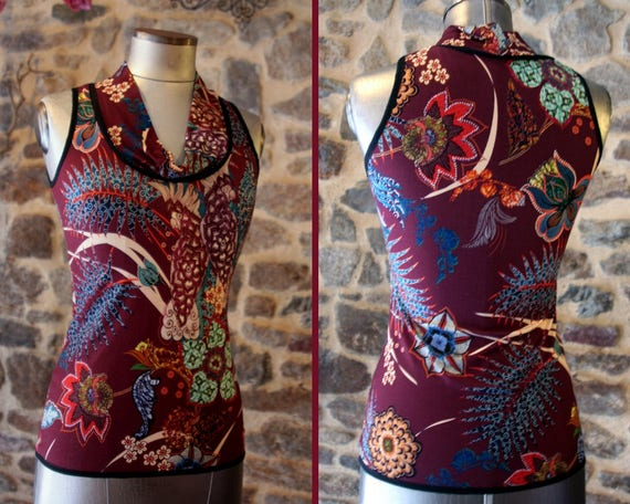 TShirt tank top women Burgundy flower motifs etOiseaux parakeets Top sleeveless Cotton Jersey. Size 38