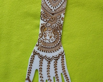 White Acrylic Practice Henna Mehndi Templates Hand Top Quality 40cm long