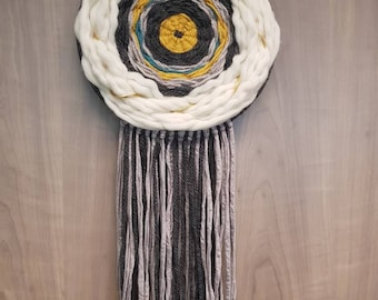 DreamCatcher circular weaving - wool - grey, blue and mustard yellow