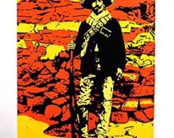 Soldado Mexican Revolution colorful soldier original screenprint orange yellow deep blue handmade one of a kind