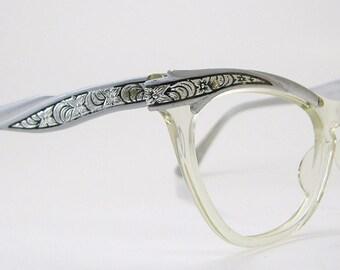 Vintage 50s Grey Horn Rim Cateye Eyeglasses Eyewear Frame