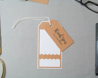 Business Thank You Tags - Small Business Tags - Scalloped Edge Tags - Handmade Seller Tags - Scallop Thank You Tags – Handmade Business Tags
