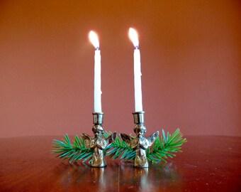 2 Petit Brass Praying Angel Candle Holders, Rustic Boho Vintage Christmas