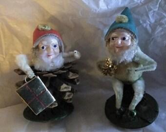 Vintage elf figures pine cone Christmas 50's
