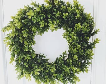 Boxwood wreath | All season wreath |  Farmhouse wreath | Modern farmhouse | Boxwood decor | Front door wreath | Front door decor |