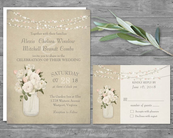 Cottage Mason Jar Wedding Invitation: Rustic Wedding Invitation Set Mason Jar Wedding Invitation