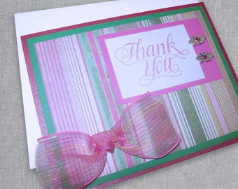 Thank You Card with Bow - Thank You Card for Her - Thank You Notes - Appreciation Card - Bread and Butter - Greeting Card - Handmade Cards