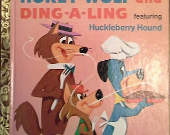 Vintage 1961 1st Edition Little Golden Book Hanna-Barbera HOKEY Wolf and DING-a-LING #444-A