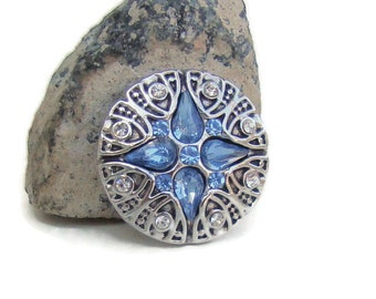 Blue rhinestone, 20 mm, noosa style snap charm button for interchangeable snap button jewelry brands,like ginger snaps and magnolia and vine