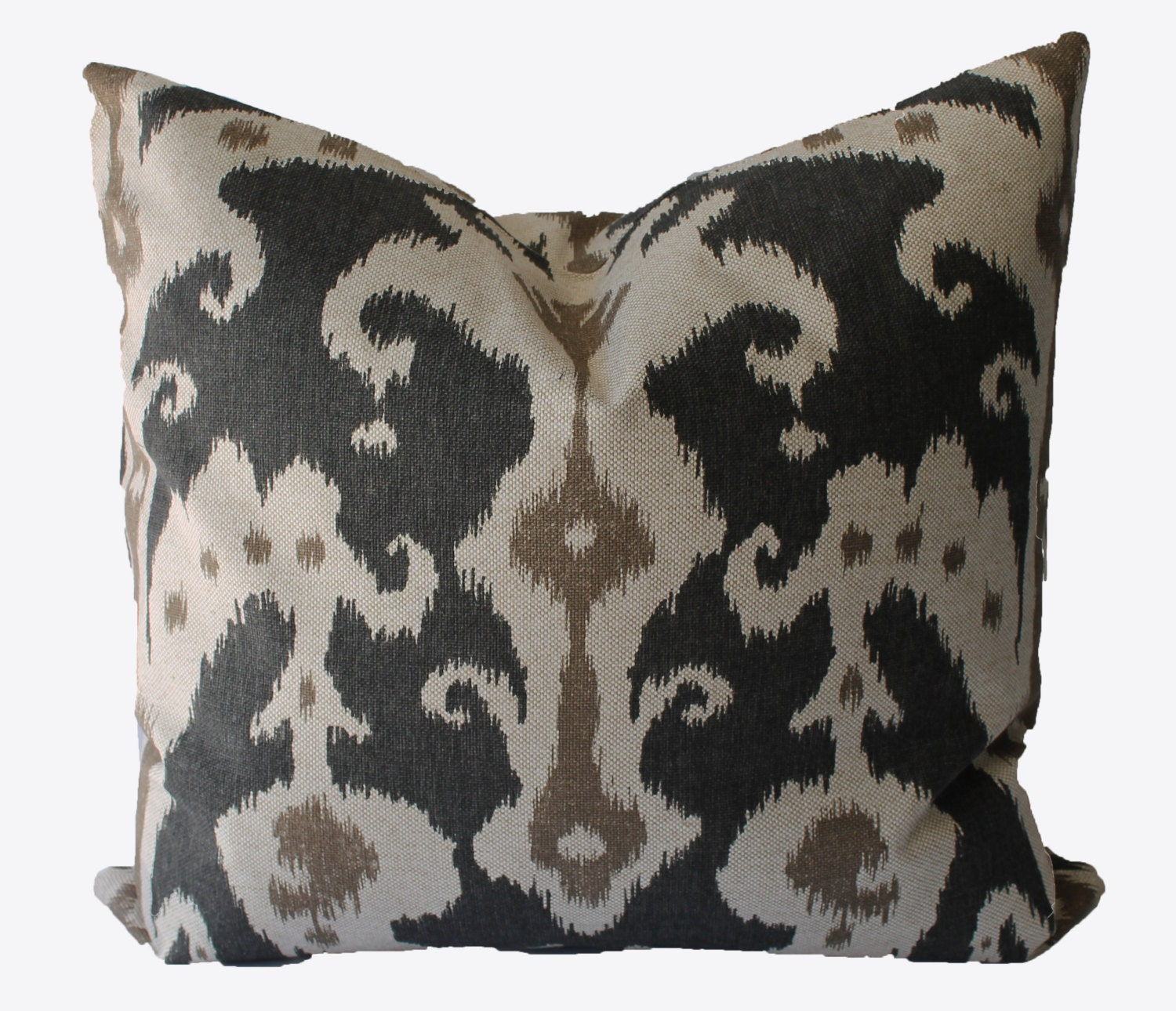 Decorative Ikat Charcoal Grey Beige Tan Marrakesh 19x19