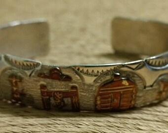 Vintage Native American Sterling Silver and 12k Gold Filled Storyteller Cuff Bracelet Signed RB or Richard Begay