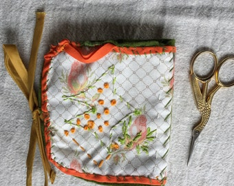 Needle Case Needle Book Hand-Embroidered Laura Ashley Fabric Sewing Aids Embroidery Accessory
