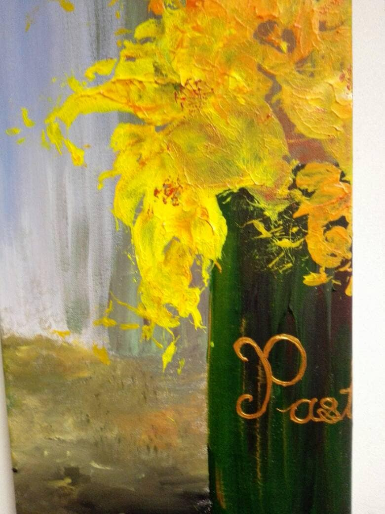 Flower painting from self-made brush, spring collection, lily ...