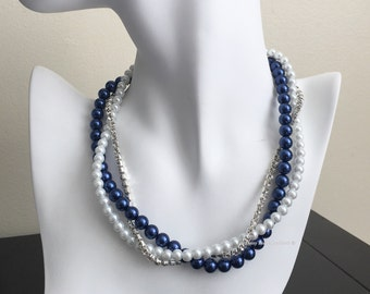 Navy and White Necklace Pearl and Rhinestones Necklace Bridesmaids Jewelry Bridesmaid Necklace Navy Pearl Necklace Navy Theme Wedding