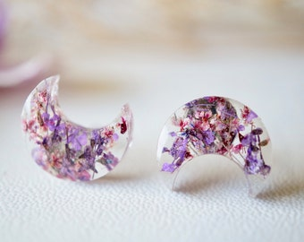 Real Dried Flowers and Resin Moon Stud Earrings in Purple and Burgundy
