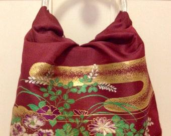 Vintage Japanese obi evening bag plum and gold metallic thread