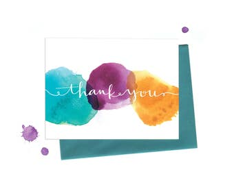 Thank You Notes Greeting Card Set with Watercolor Dots and Hand Typography