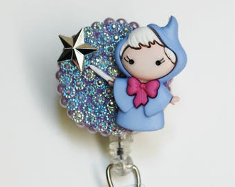 Disney's Cinderella's Fairy God Mother ID Badge Reel - Retractable ID Badge Holder - Zipperedheart